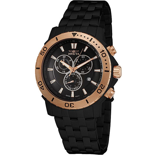 Invicta Mens Pro Diver Black and Goldtone Chronograph Watch
