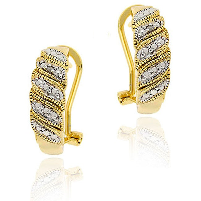 DB Designs 18k Gold over Sterling Silver Diamond Accent Leaf Design Earrings