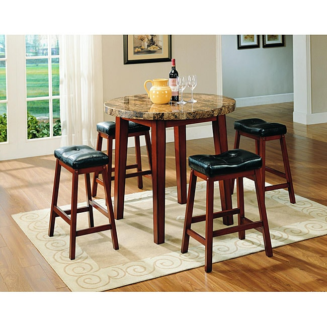 Furniture of America Lorelay Honey 5-piece Marble Pub Set