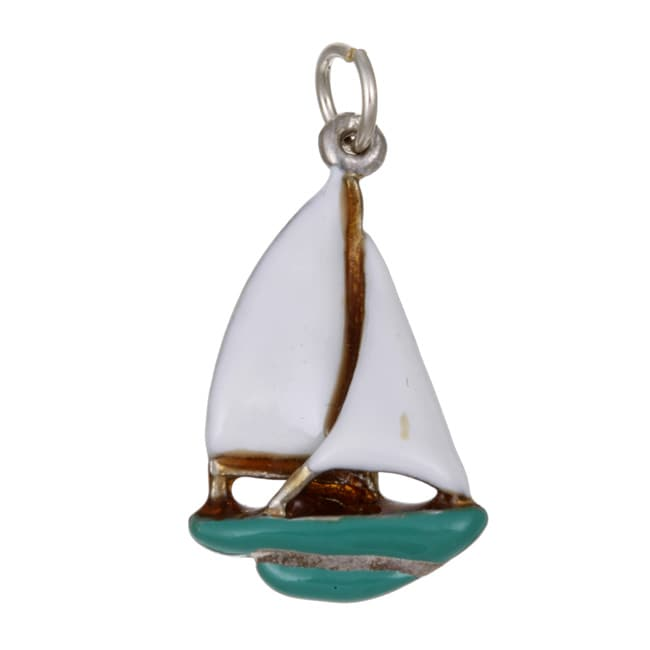 Best in Show Sterling Silver Enamel Large Sailboat Charm