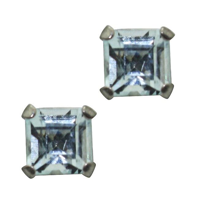 Gioelli 10k White Gold Square-cut Aquamarine Stud Earrings