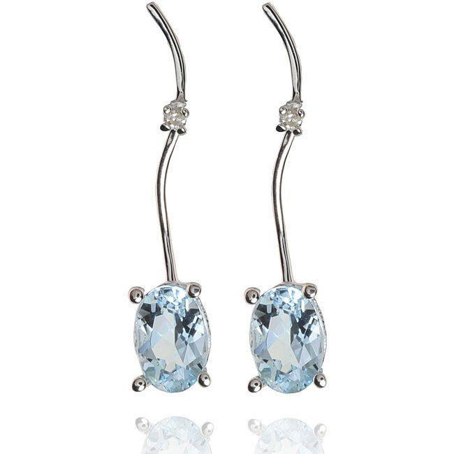14k White Gold Aquamarine and Diamond Accent Earrings