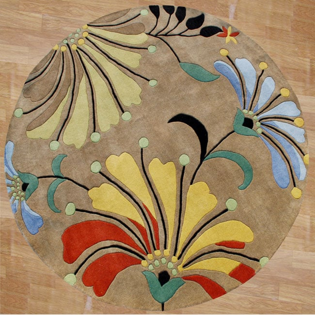 Hand-tufted Contempo Flowers Beige Wool Rug (6' Round)