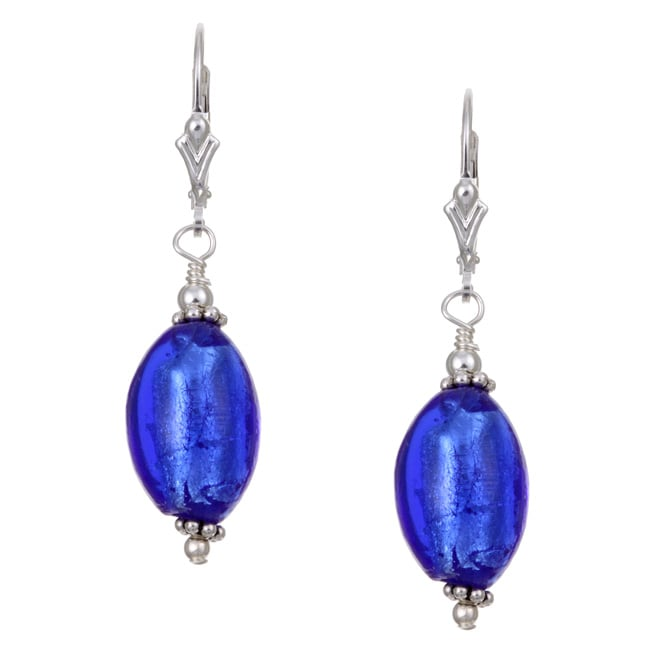 Charming Life Sterling Silver Cobalt Blue Oval Glass Earrings