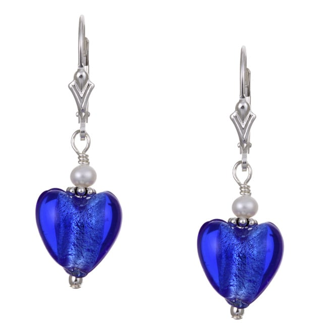 Eziba Collection Charming Life Silver Cobalt Blue Heart and Pearl Earrings (3.5 mm) at mygofer.com