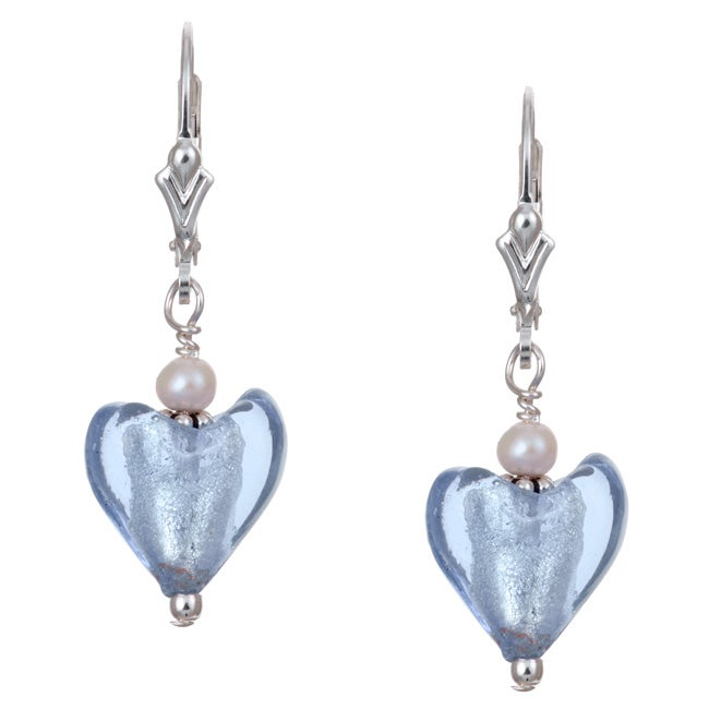Eziba Collection Charming Life Sterling Silver Periwinkle Blue Heart and Pearl Earrings (3.5 mm) at mygofer.com