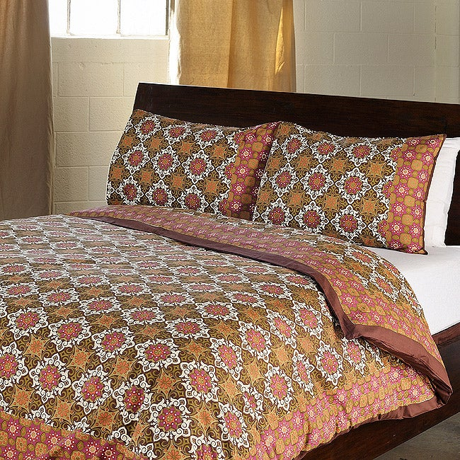 Antique Pattern Cotton King-size 3-piece Duvet Cover Set (India)