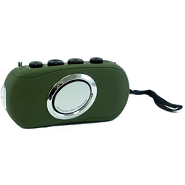 Waterproof Hand Powered Radio with LED Flashlight (Green)