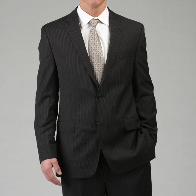 Calvin Klein Men's 2-button Slim Fit Black Stripe Wool Suit
