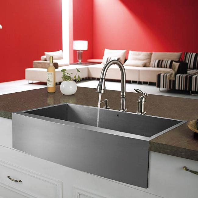 Vigo Farmhouse 32 inch Stainless Steel Kitchen Sink and 3 hole Faucet