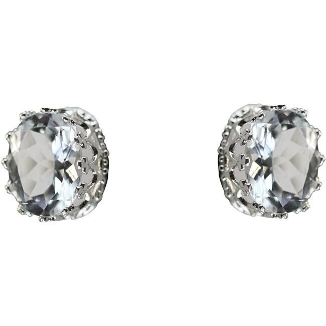 Gioelli Sterling Silver Oval-cut Clear Cubic Zirconia Stud Earrings