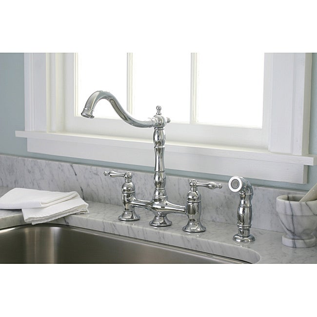 denovo premier bridge style chrome kitchen faucet with