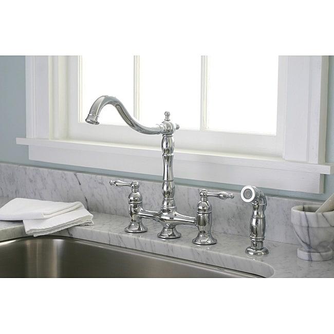 Kitchen Faucet Keeps Getting Loose: DeNovo Premier Bridge Style Chrome Kitchen Faucet With