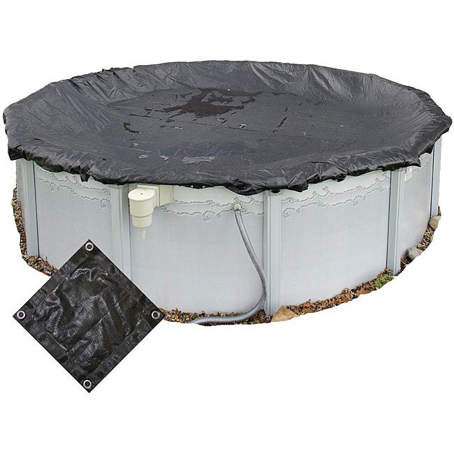Rugged 24-foot Round Above-ground Mesh Pool Cover