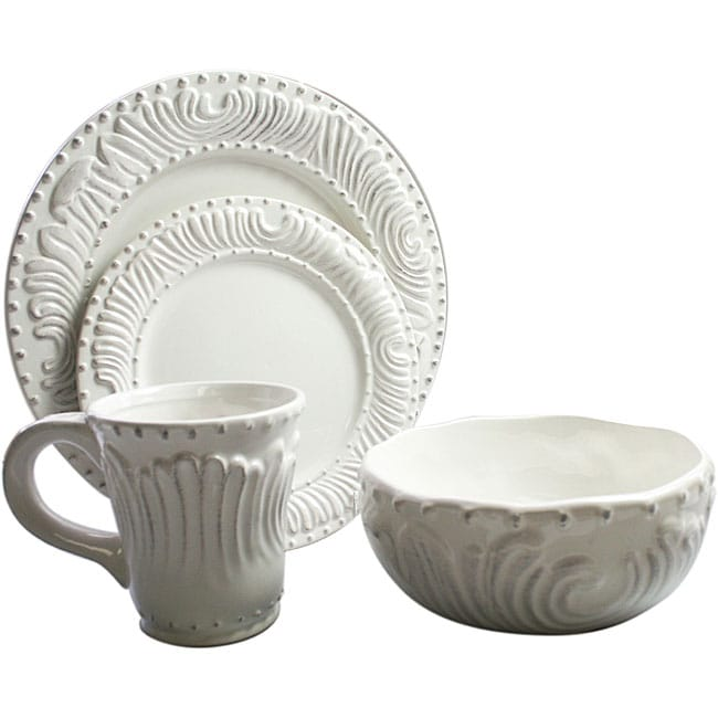 American Atelier 'Bianca' 16-piece Flute and Bead Dinnerware Set