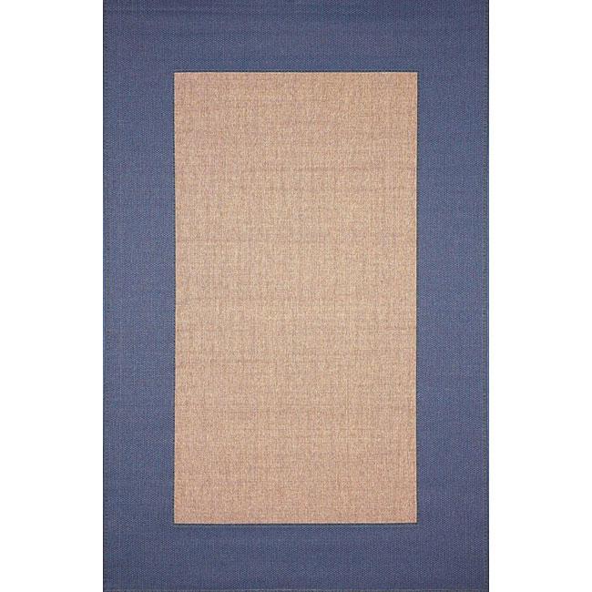 Border Blue Outdoor Rug (3'3 x 4'11)