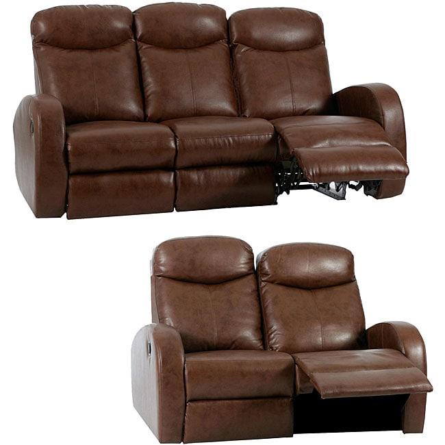 Troy 2 Piece Brown Faux Leather Reclining Sofa And Loveseat Set 12670273