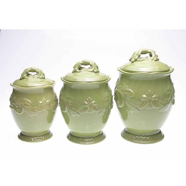 certified international firenze green 3 piece canister set