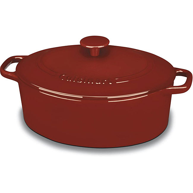 Cuisinart Chef's Red 5.5-quart Cast Iron Oval Covered Casserole