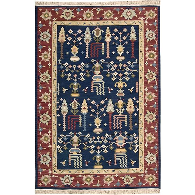Nourison Samarkand Flatweave Reversible Navy Wool Rug (8'6 x 11'6)