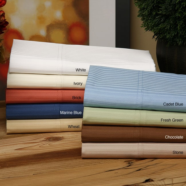 North Home 400 Thread Count Cotton Stripe Sateen Sheet Set