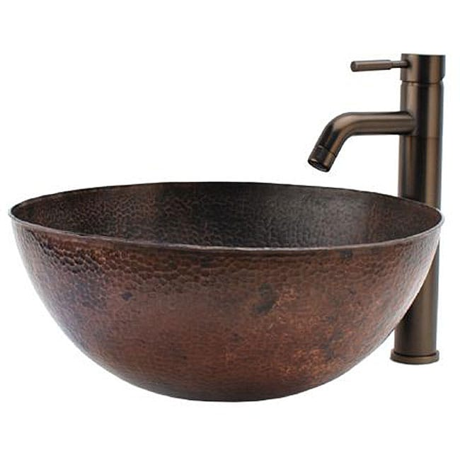 VIGO Textured Copper Glass Vessel Sink and Faucet Set in Brushed ...