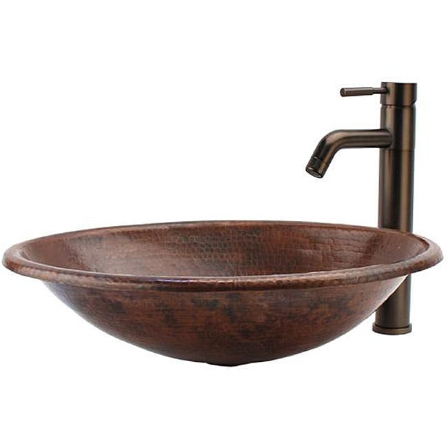 Surface Mount Sink : Fontaine Round Copper Surface-mount Sink and Vessel Faucet Combo ...