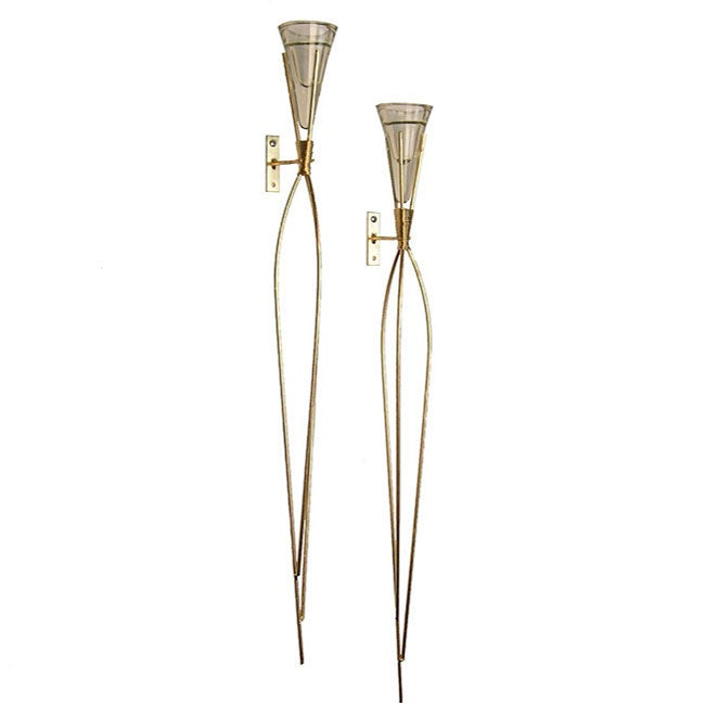 Wire Torch Candle Sconce Set