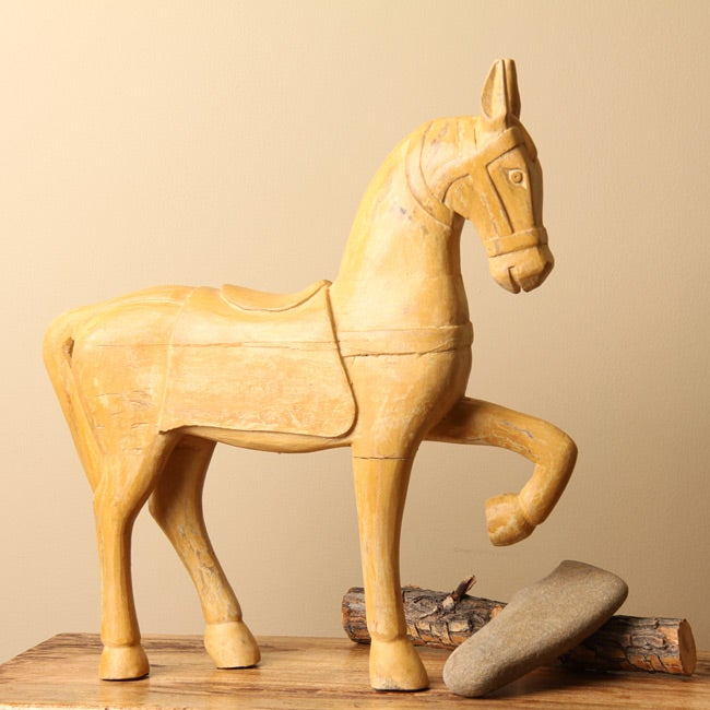Hand-carved Wooden Horse Statue (India)