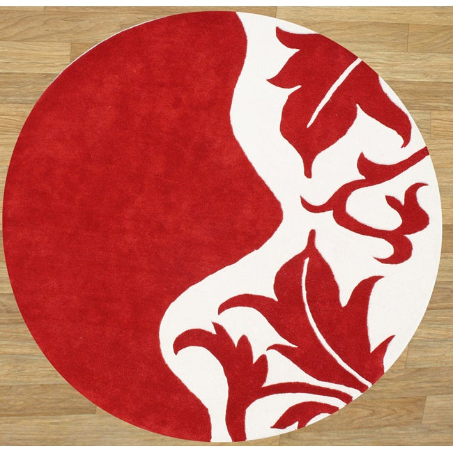 Hand-tufted Royal Quill Red/ White Wool Rug (6' Round)