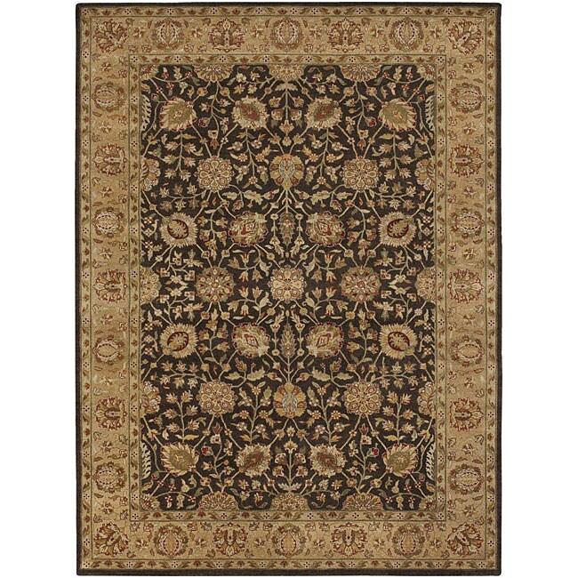 Hand-knotted Mandara Brown Wool Rug (9' x 13')