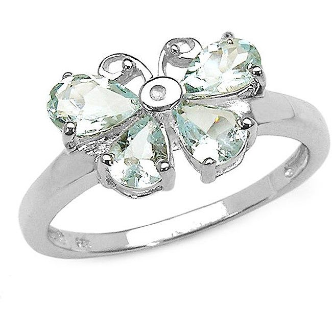 Malaika Sterling Silver Aquamarine and Diamond Accent Butterfly Ring