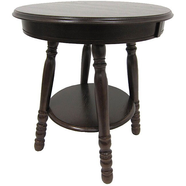 Round Solid Wood End Table 12689023