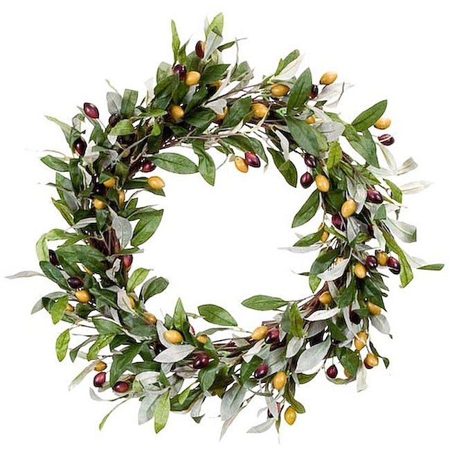 Mixed Olive Leaf Wreath - 12689411 - Overstock.com ...