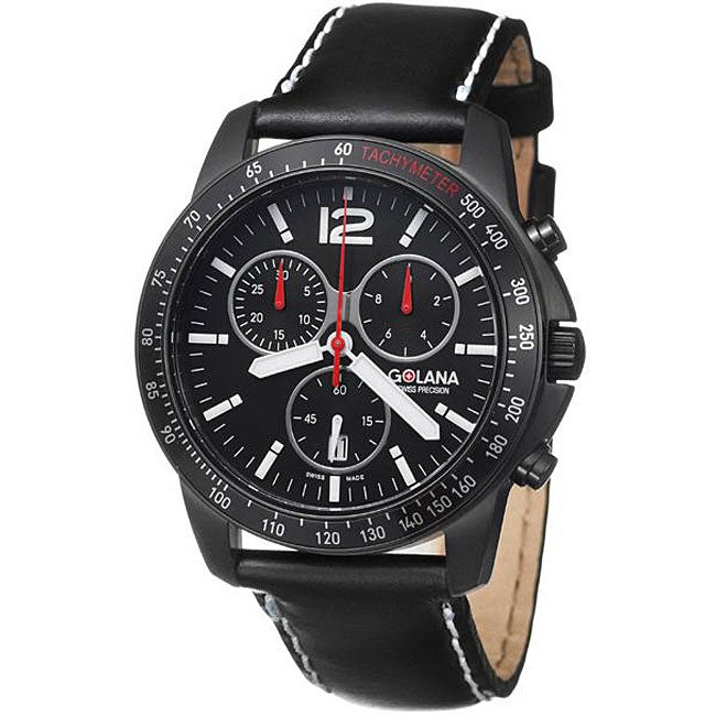 Golana Swiss Men's 'Terra Pro 200' Steel and Leather Quartz Watch