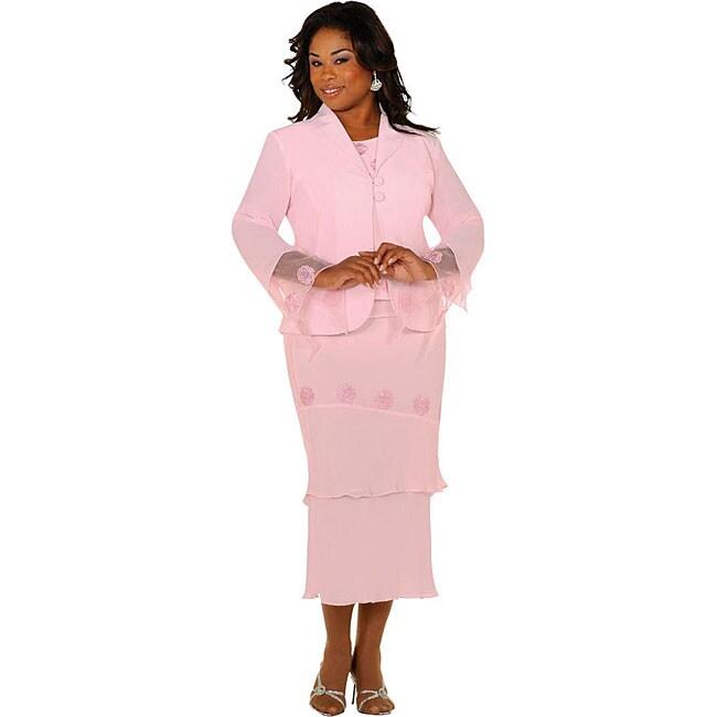 Audrey B. Women's Plus Size Pink 3-piece Skirt Suit