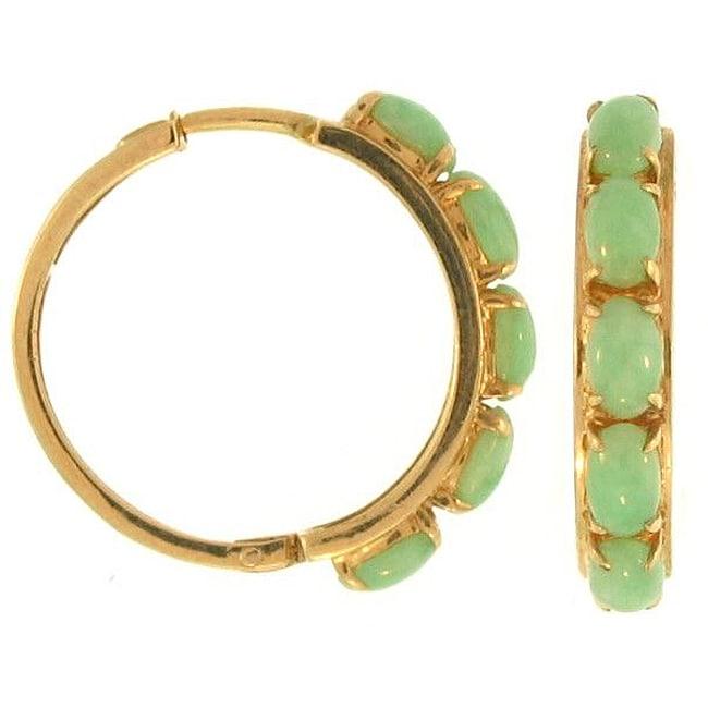 Mason Kay 14k Yellow Gold Green Jadeite Jade Half-hoop Earrings