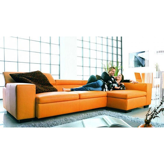 Orange Leather Sectional
