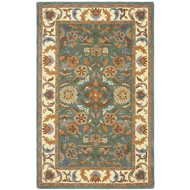 Hand-tufted Agra Green New Zealand Wool Rug (8' x 11')
