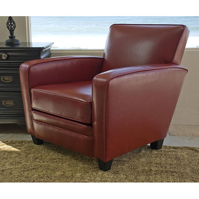 Made to Order Bradley Crimson Leather Club Chair