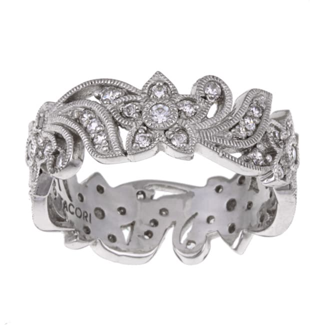 Tacori IV Sterling Silver Cubic Zirconia Floral Design Eternity Band