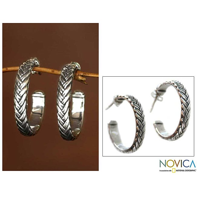 Braids Artisan Designer Handmade Fashion Clothing Accessory Sterling Silver Half Hoop Contemporary Jewelry Earrings (Indonesia)