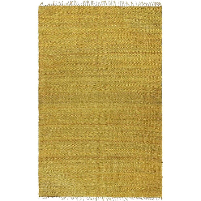 Handmade Earth First Honey/ Gold Hemp Rug (8' x 10')