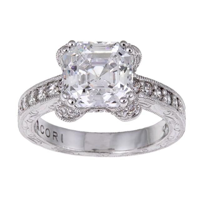 Tacori IV Sterling Silver Epiphany Asscher-cut Cubic Zirconia Ring