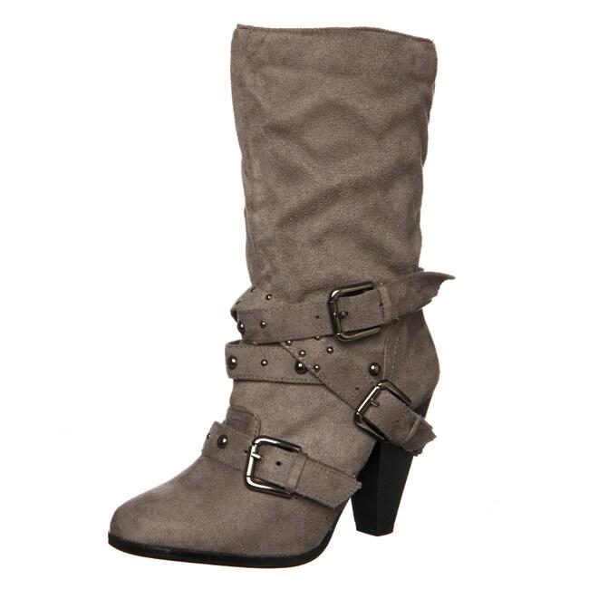 Bucco Women's Buckle Detail Mid-calf Boots
