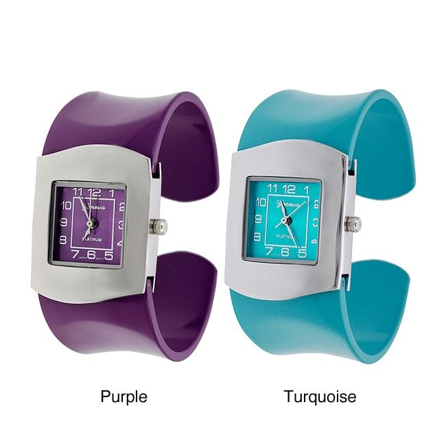 Geneva Platinum Women's Colored Band Cuff Watch