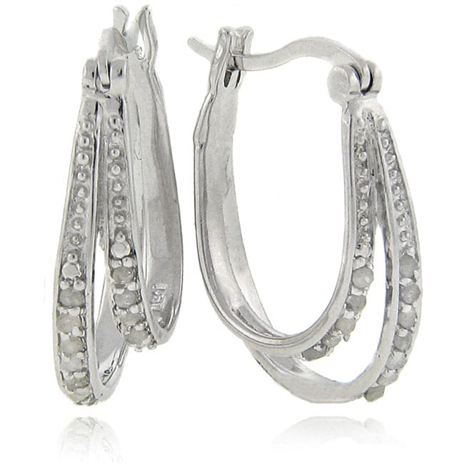 Eziba Collection Sterling Silver 1/4 Carat TW Diamond Double Hoop Earrings, at mygofer.com