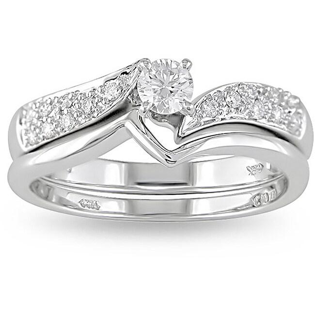 14k White Gold 1/3ct TDW Diamond Bridal Ring Set (H-I, I2-I3)