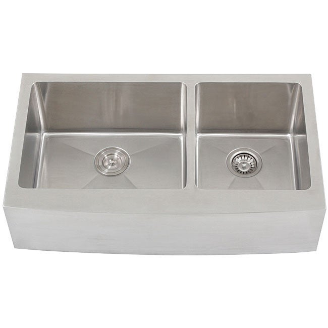 ... Stainless Steel Curved Front Double Bowl Undermount Apron Kitchen Sink