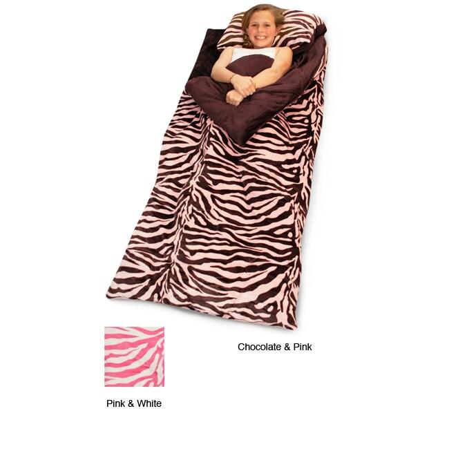 Zebra Animal Print Microluxe Sleeping Bag